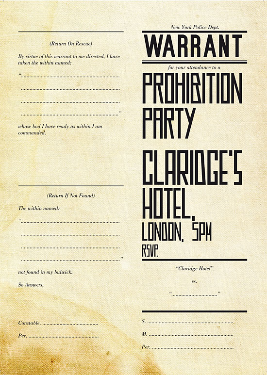 Prohibition Party invitation by George Galbraith