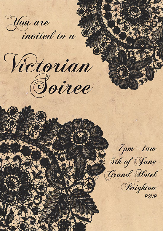 Victorian theme invitation by Laura Reilly