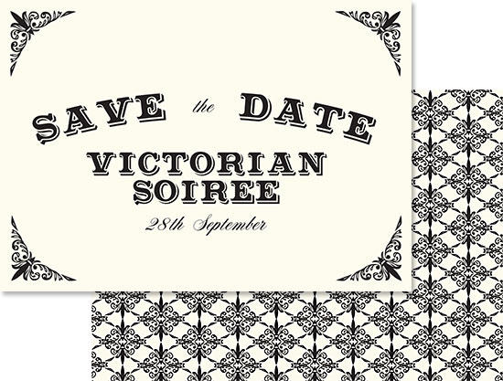 Victorian Evening save the date by Mark Spence