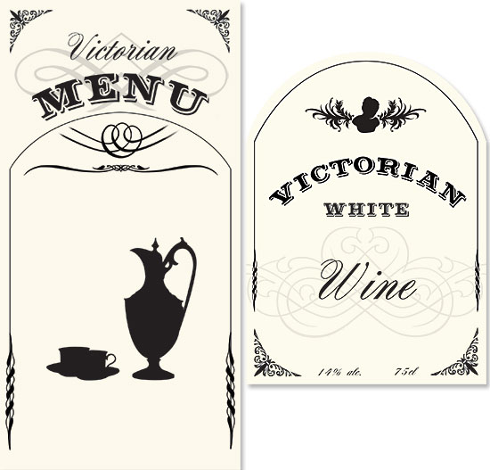 Victorian Evening menu and wine label by Mark Spence