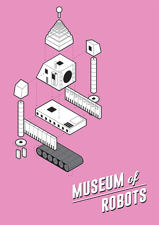 Robot Museum vector poster by Chris Newton