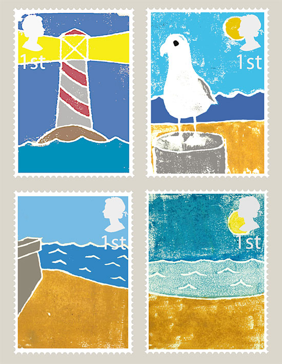Seaside stamps by Iain Denham