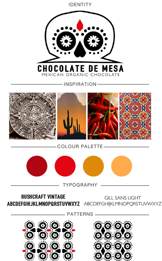 Branding board fro Mexican chocolate by Lewis Casement