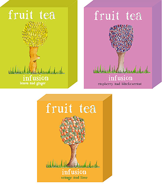 Designs for fruit teas by Joy Crosbie