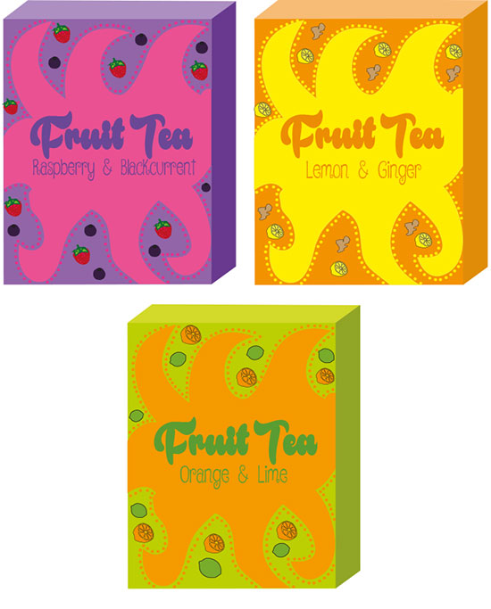 Designs for fruit teas by Shannon Brady