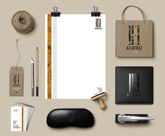 Identity for Alcatraz gift shop designed by Grace Cunningham