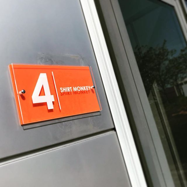 New signage! Of course it had to be orange 🐒 #orange #shirtmonkey #dtg #dtgprinting #dırecttogarmentprinting