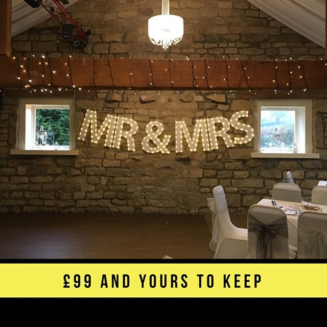Why hire when it's cheaper to buy your own? £99 and yours to keep! #partyprops #selfiestick #weddinginspo #partyprop #signsthatlookthebiz #lightupletters #marqueeletters #wedding #weddingdecor