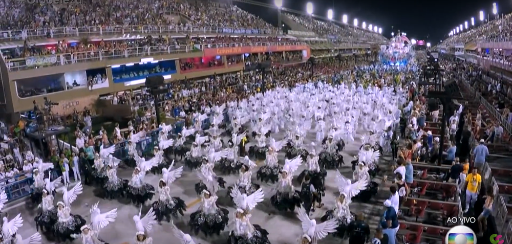 Women dressed in white and white doves representing peace.
