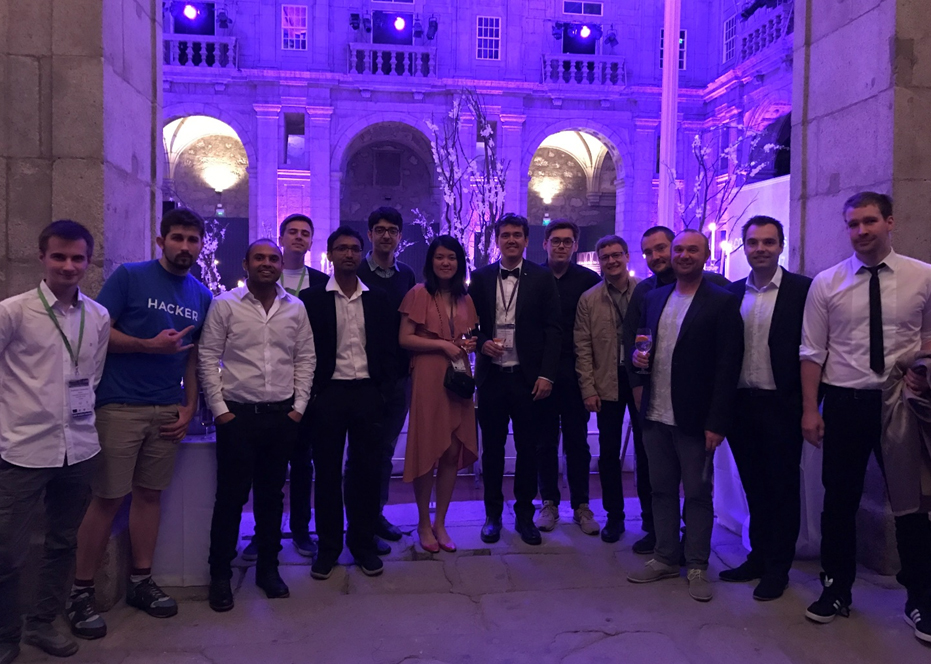 April 25, 2017. I-COM Gala Awards 2017 at Sao Bento da Vitoria Monastery with other Hackathon participants. Middle: Ting Wang, Fabio Giraldo. Right: Richard Brooker