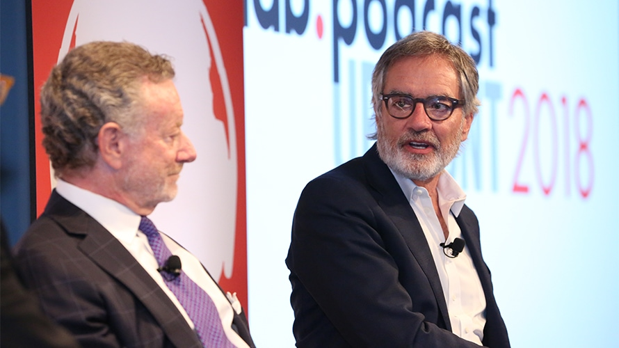 Jarl Mohn, CEO of NPR and Bob Pittman, Chairman and CEO of iHeartMedia, chatted onstage at the IAB podcast upfronts.  IAB