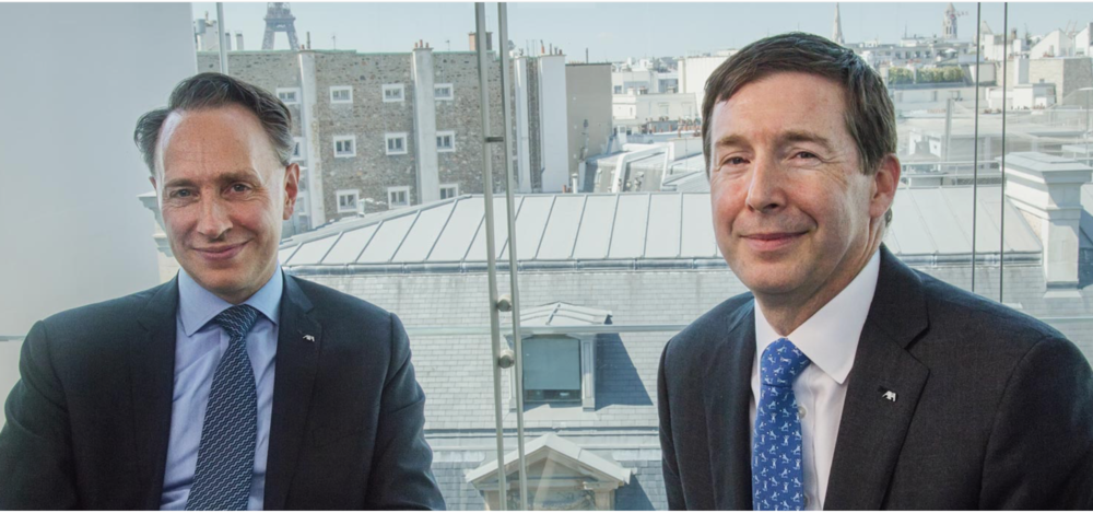 Thomas Buberl, CEO of AXA, and Greg Hendrick, CEO of AXA XL