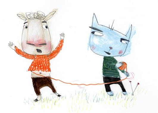 Tråd/Bok om tråd, Unika Forlag 2009 Illustrasjoner laget til fakta om og egenskaper til ull, silke, lin og bomull. Omslag, helsider, og spotter Forf. Annie Eikenes