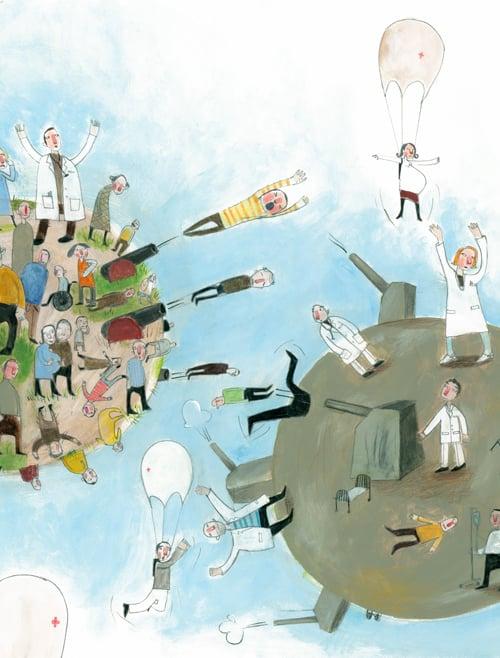 Helse Midtnorge /Bennett 2007       Redaksjonell illustrasjon om primærhelsetjenesten i norge. Oppdraget omtattet:forside, 1,5 side + spot