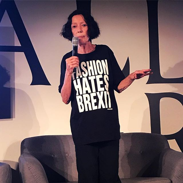 Fashion Hates Brexit! The message from iconic British designer @katharinehamnett  Thought-provoking - and sustainable - slogan t-shirts from the legend #katharinehamnett Discussing the potential detrimental effect of Brexit on the British fashion industry @lfw_festival earlier today. . . . .#lstlondon #trendsdecoded #sustainablefashion #ethicallymade #consciousliving #brexit #fashionindustry #fashioneducation #historyoffashion