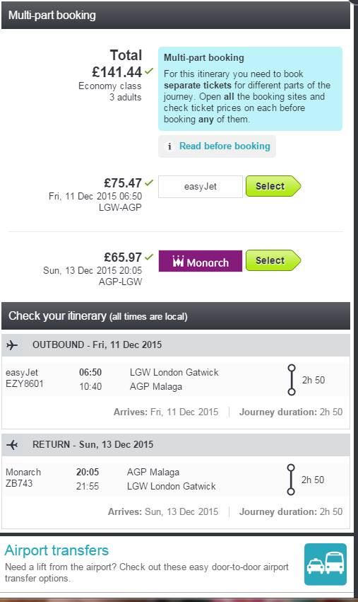 3 flights on perfect times for the cost of a night down your local!