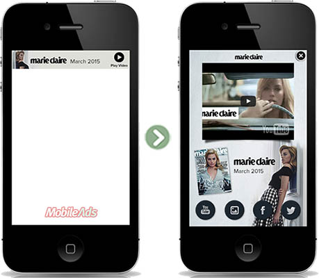 Sample mobile expandable ad with a combination of rich medias like video, photo gallery, and social feeds.
