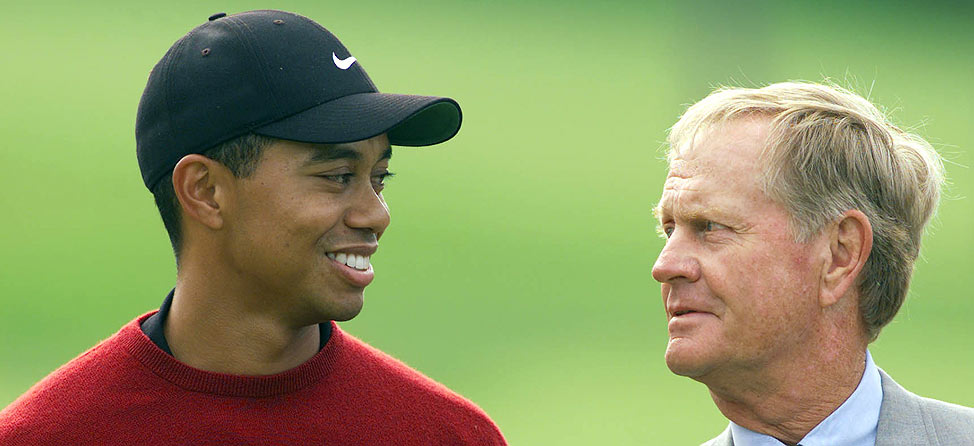 Tiger Woods and Jack Nicklaus. Tiger is on the left.