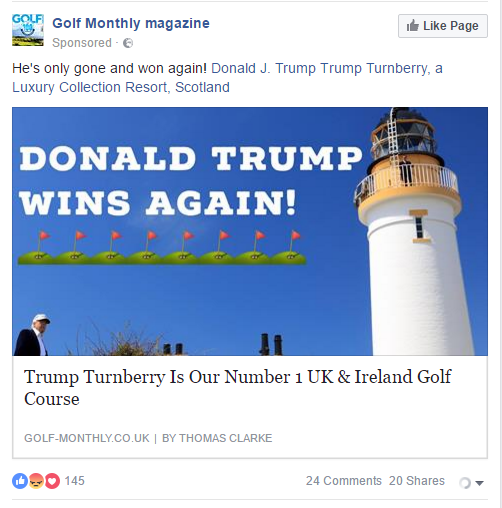 Paid post on Facebook tagging the President-elect.