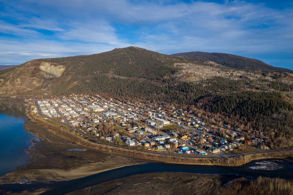 Vue aérienne de Dawson City
