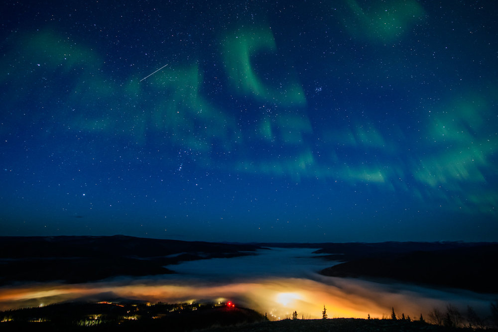 Auroles boréales sur Dawson City
