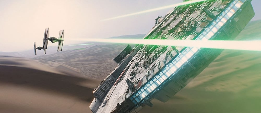 The Millennium Falcon is back kicking ass in Episode 7: The Force Awakens. Image from iMDB page for Star Wars: The Force Awakens.