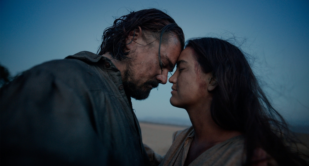 "Leonardo DiCaprio and Dove Grace in ""The Revenant"". Image from foxmovies.com"
