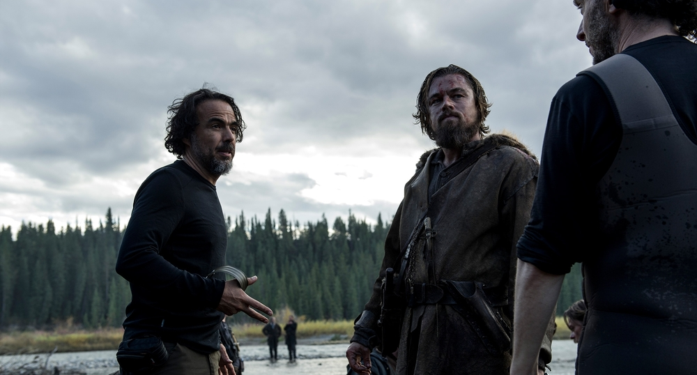 "Alejandro Iñaritu and Leonardo DiCaprio hard at work for the shoot of ""The Revenant"". Image from foxmovies.com"