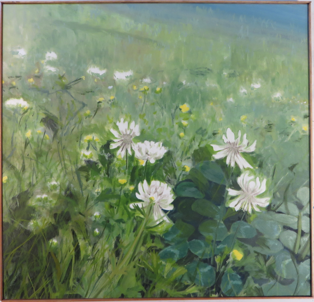 "Clover in a Landscape, 2007, oil on canvas, 48""x8"""