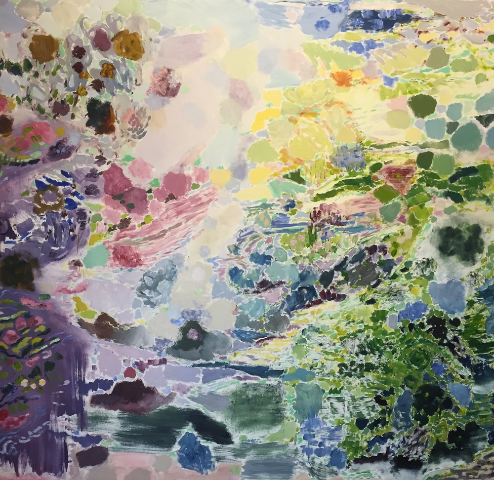 "Up the Garden Trail, 2015, cropped, oil on canvas, 94""x86"""