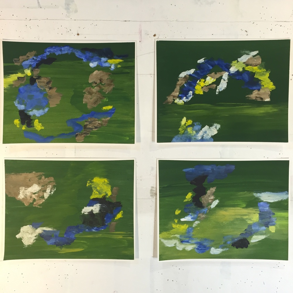 "Earth Series, (group of four) 2013, oil on prepared paper, 11""x14"" each"
