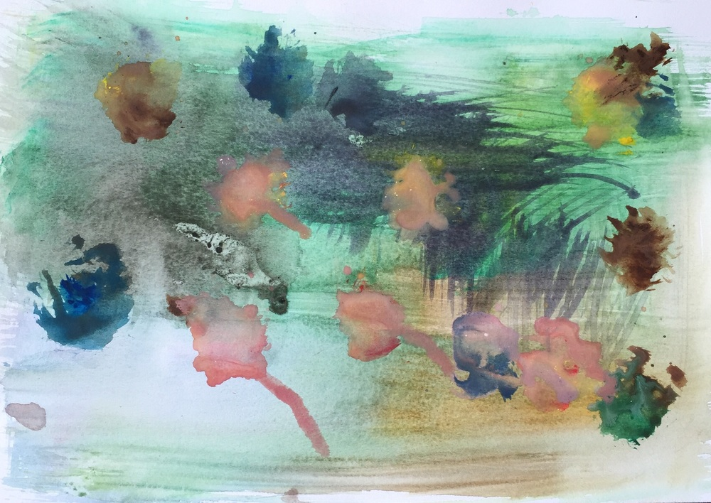 "Untitled Landscape 1, 2016, watercolor on paper, 7""x10"""