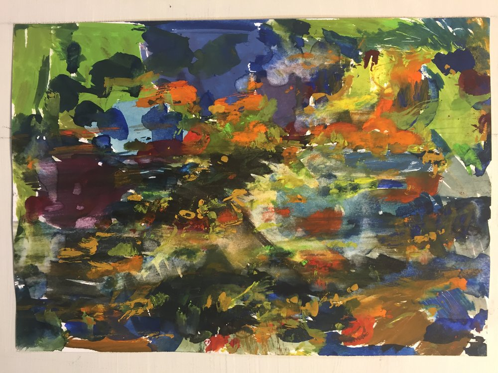 "MP, Abstract Landscape, Feb, 2016, gouache on paper, 7""x10"""