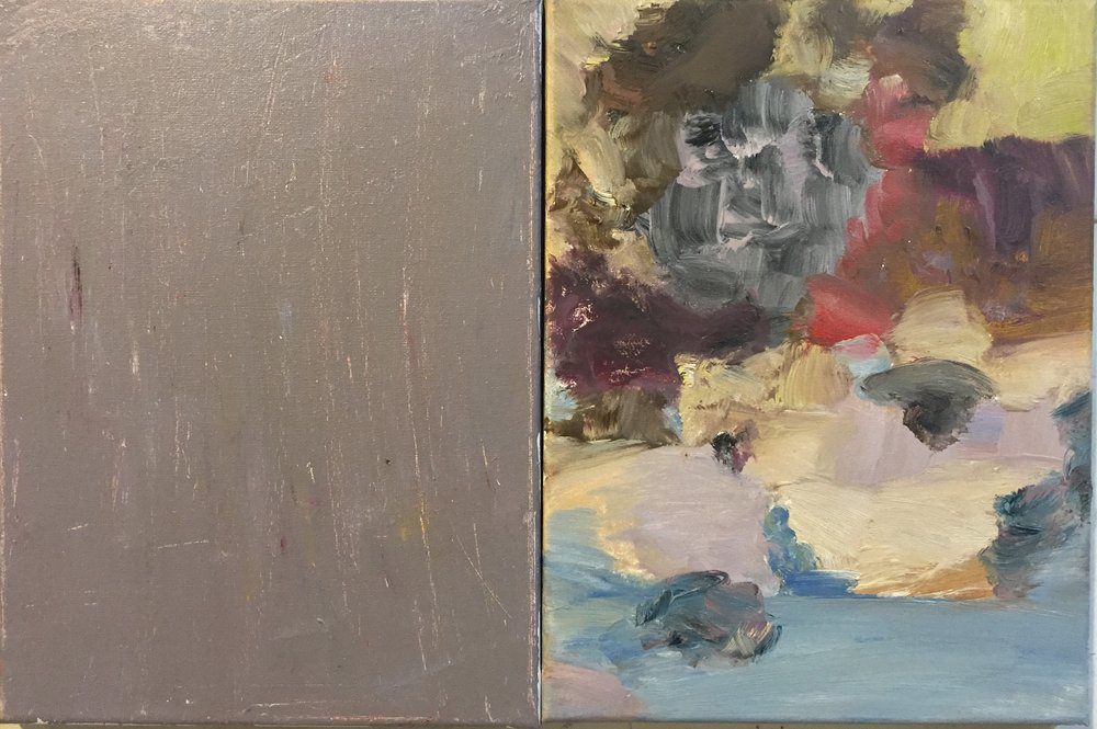 MP, Diptych 1, 2016, oil on canvas, (2) 9x12s