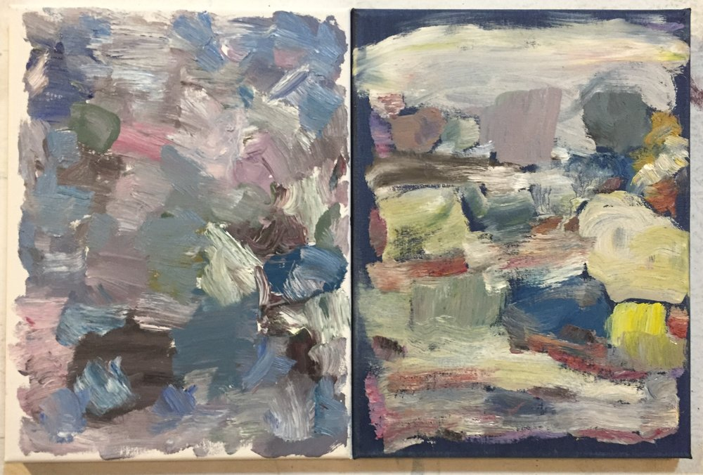 MP, Diptych 2, 2016, oil on canvas, (2)9x12s