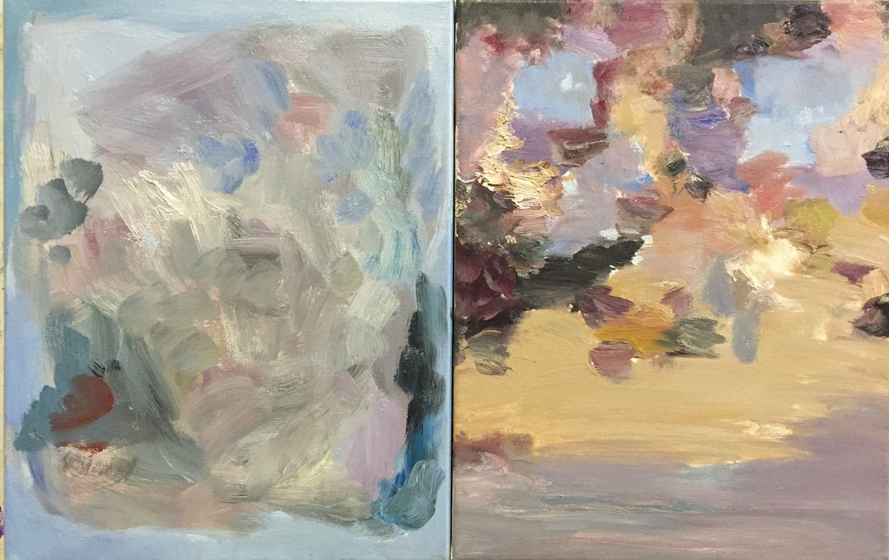 "Diptych, 2016, oil on canvas, 14""x22"""