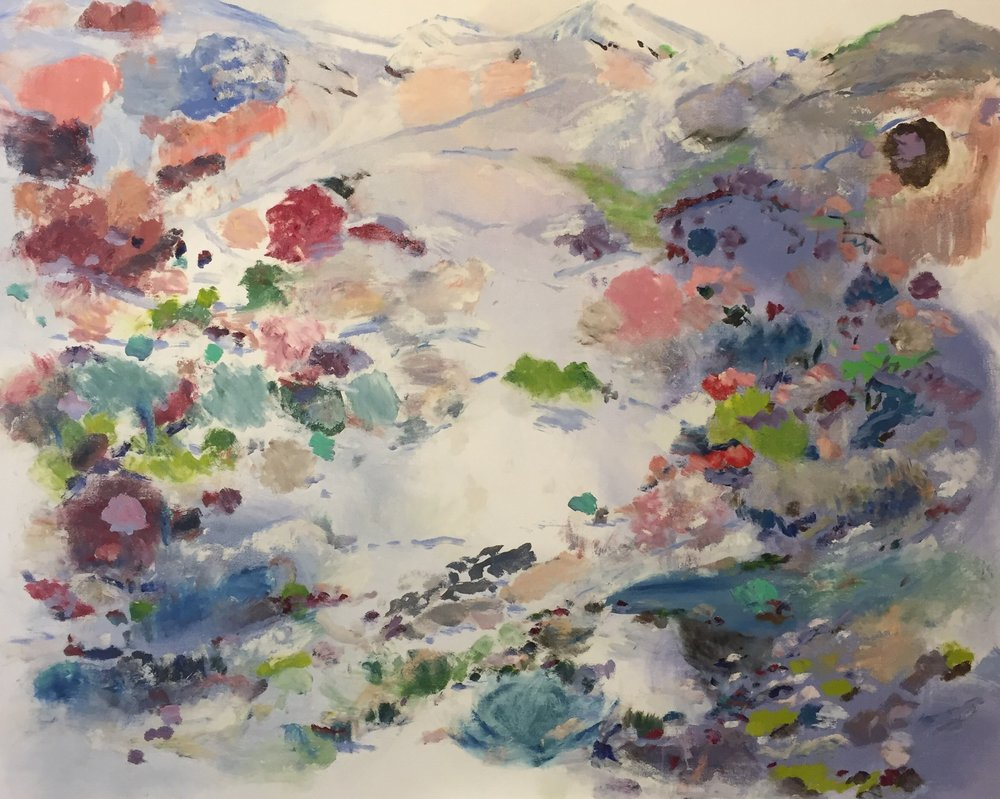 "Mountains and Trails, 2015, oil on canvas, 48""x60"""