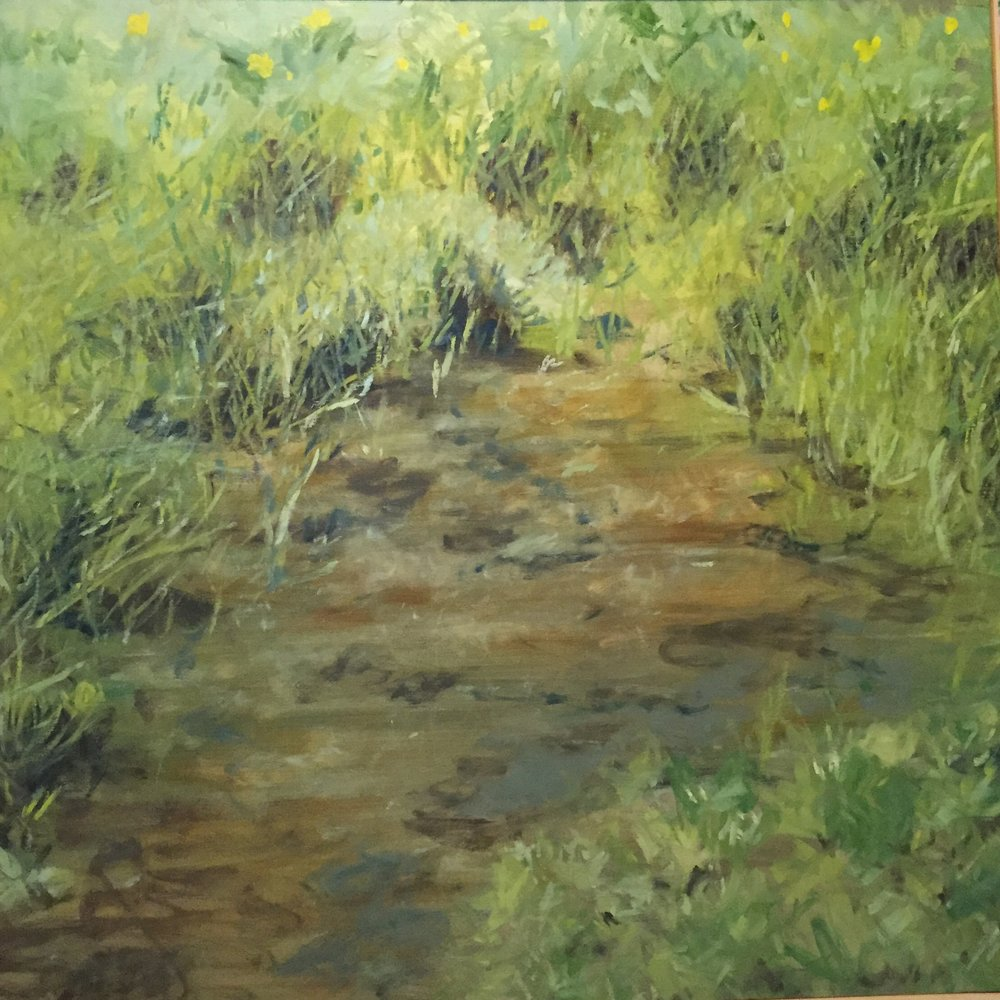 "Patch of Earth, 2007, oil on canvas, 48""x48"", in artist frame."
