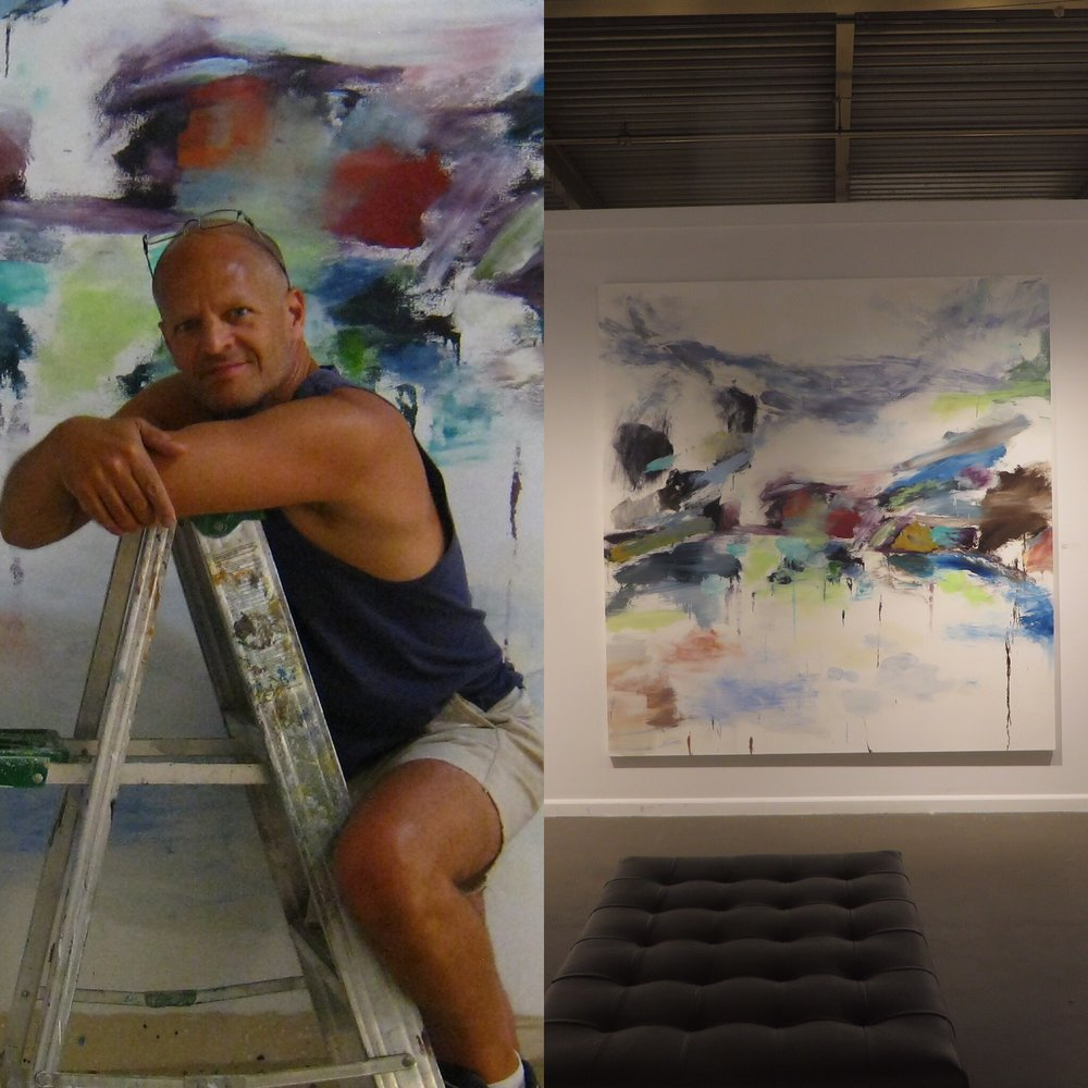 "Left side: Studio shot with Pacific Coast. Right side: Pacific Coast, 2011, oil on canvas, 94""x89"""
