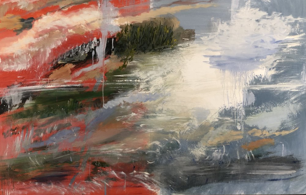 Split Landscape, Red Blue, 2015
