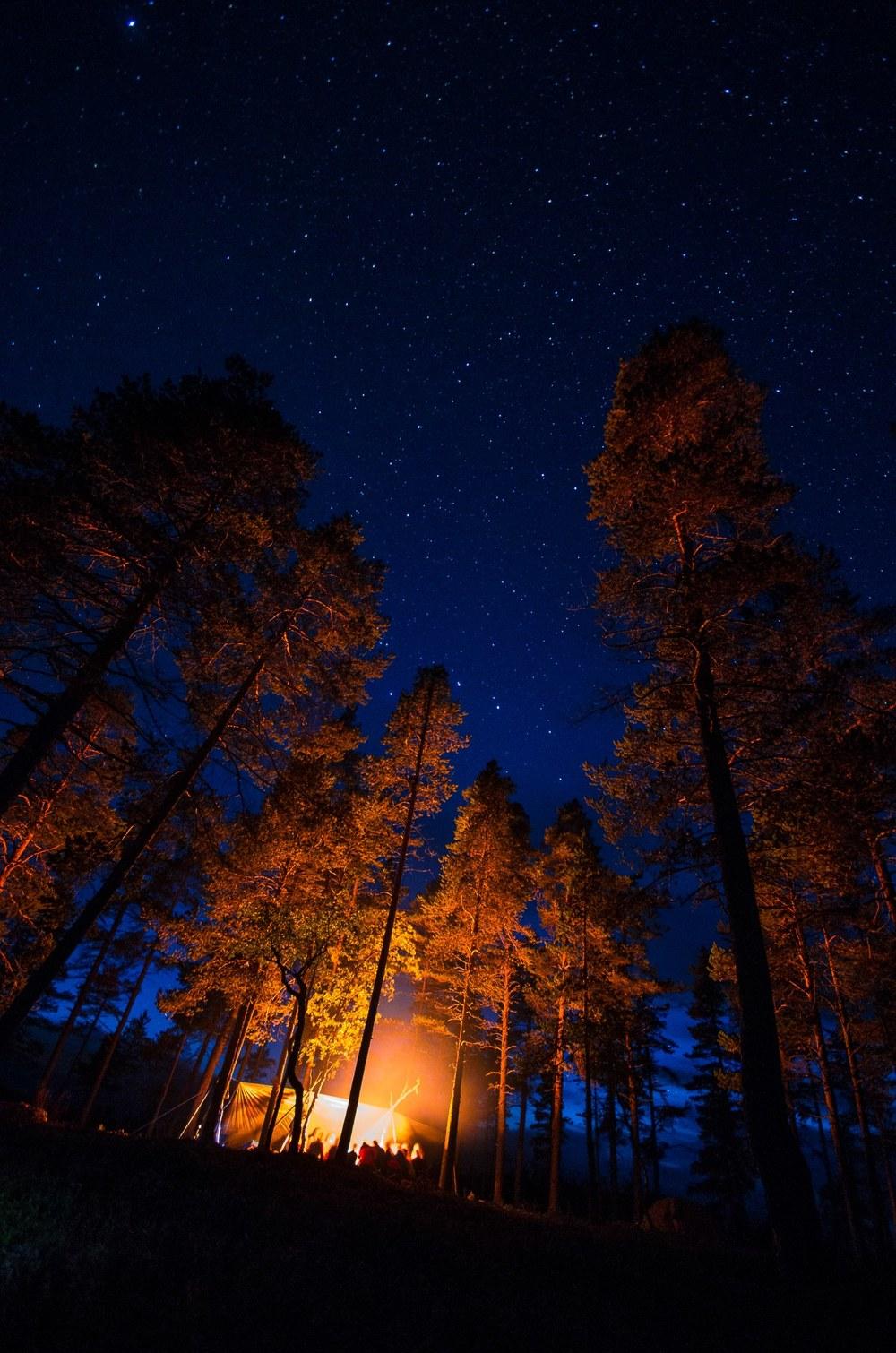 Bålkos under gapahuken med stjernehimmel