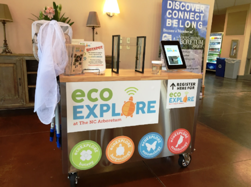 You can also register for ecoEXPLORE using the Roving Naturalist Cart at The North Carolina Arboretum inside the Baker Exhibit Center or at any Buncombe County Library.