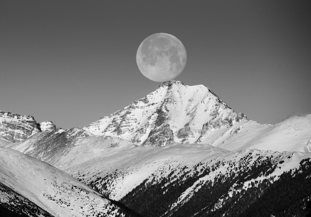 Moon Over Rocky Mountains