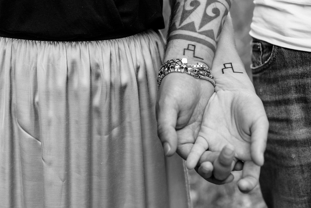 tatuaggio insieme amore innamorati bianco e nero