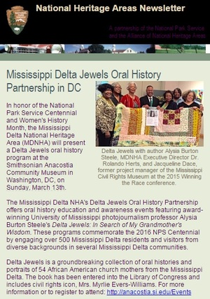 The Mississippi Delta National Heritage Area's Delta Jewels Oral History Partnership Program at Smithsonian Anacostia Community Museum featured in the Spring 2016 National Heritage Areas Newsletter.