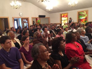 Hundreds gathered at Mound Bayou's Mount Olive Missionary Baptist Church.