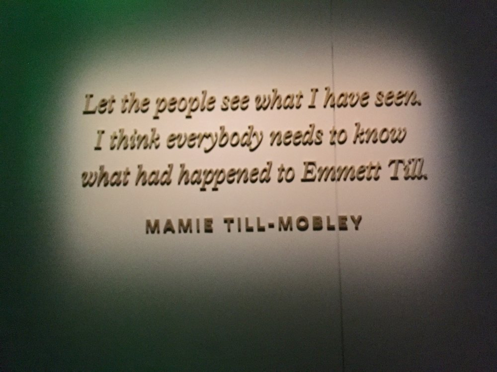 At the entrance to the Emmett Till exhibit at Smithsonian NMAAHC