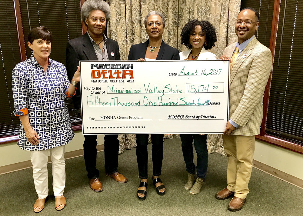 BB King Day representatives from Mississippi Valley State University with MDNHA board member Meg Cooper (far left) and executive director Dr. Rolando Herts (far right). Mississippi Valley is one of several organizations that received MDNHA grants in 2017.