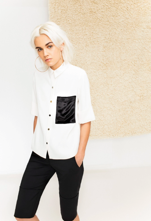 White Button Shirt with Front Pocket