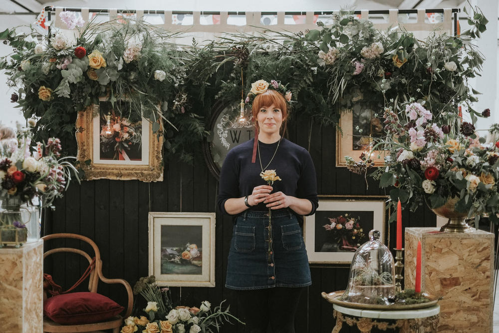 This is the wonderful and ever so beautiful Joey from  The Wild Fox . She helped me decorate my stand and adorned me with flowers. I fell completely in love with her earthy, ethereal floral design. It has such a sense of timelessness to it.